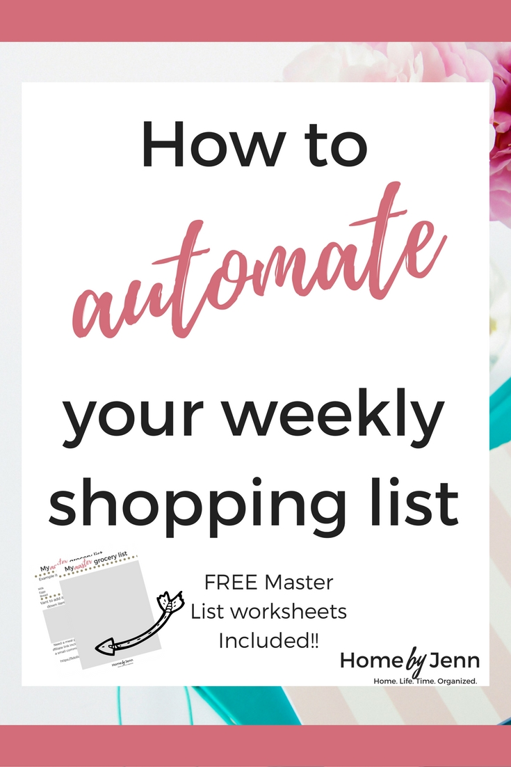 Creating your weekly shopping list can be one of the most frustrating chores that we face each week.  Do you find yourself adding some of the same items to your weekly shopping list week after week?  If you are ready to save time and put your weekly shopping list on auto pilot then you need this post.  I'm going to show you how you can automate your weekly shopping list.  By doing this, you'll be saving time and money each week.    Don't forget to download the FREE Master List worsheet provided inside this post.