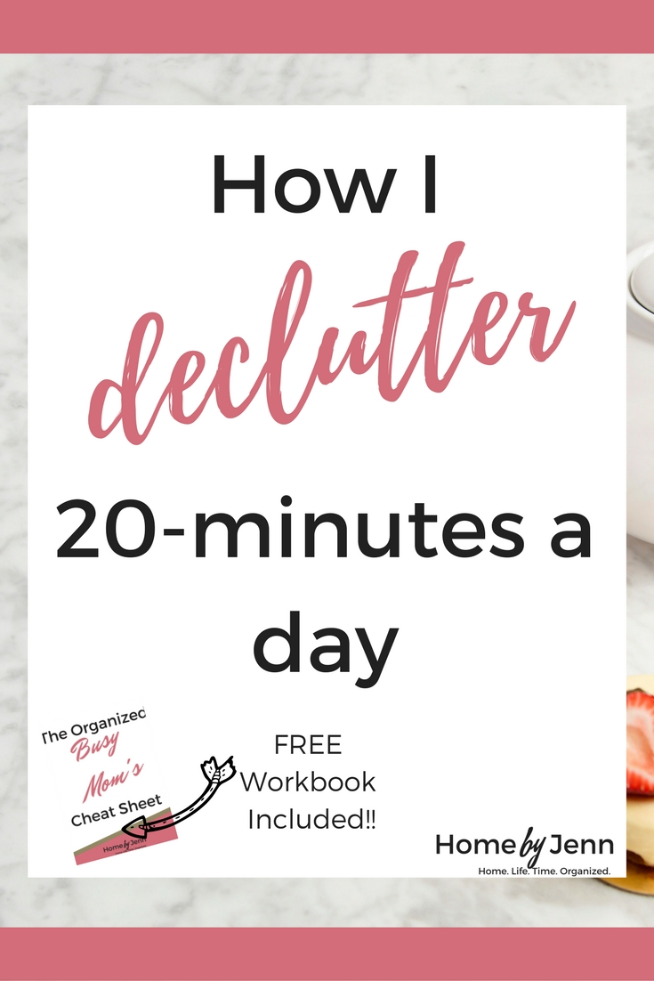 In this post, Jenn shows you exactly how her 20-minute decluttering process works.  Declutter your home and become more organized by only spending 20-minutes a day at this.  There's a free workbook too to help you become more organized.