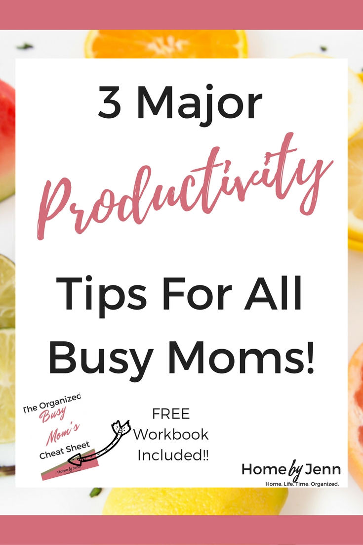 Learn how you can get more done even when your plate is over flowing with too much on it.  In this post, Jenn shares 3 productivity tips that will help all busy mom get more done.  It also includes a free workbook to help!