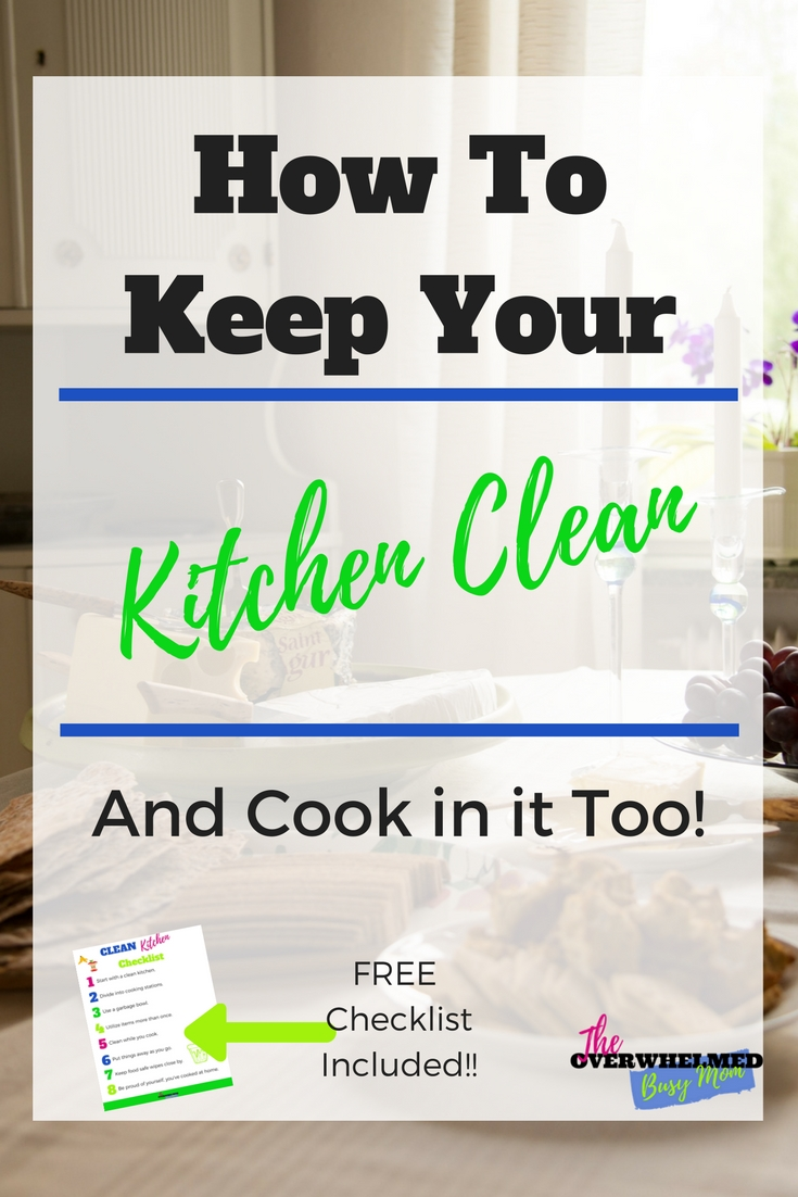 Are you frustrated with keeping up on your dirty kitchen?  In this post, Jenn shares how she is able to keep her kitchen clean and cook in it too.  Included is a free checklist so you can take that with you and implement these tips to make your life easier. #cleankitchen #howtoclean #howtokeepthekitchenclean #quickcleaningtips #busymomcleaningtips #wheretostartcleaning #quickclean #cleaning #homemaking #cleanhome #cleanroutines #cleaninghacks #cleanroutinesforworkingmoms #cleanroutinesforbusymoms #speedcleaningtips