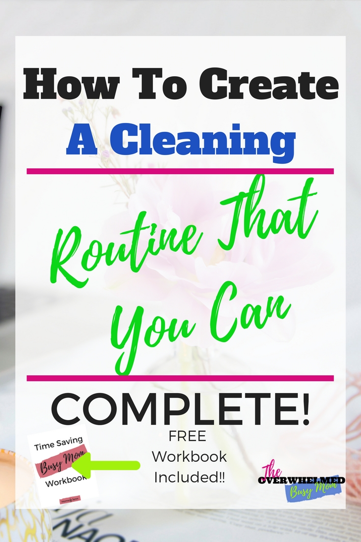 In this post, Jenn from Home by Jenn is sharing how to create a cleaning routine for any busy mom.  If you ever struggle with a cleaning routine or just creating a cleaning routine that you can complete, Jenn is sharing her best tips for creating a cleaning routine for your home.   You'll want to download the free Time-Saving Busy Mom Workbook filled with ways you can save time plus there's a place to create your own cleaning routine.