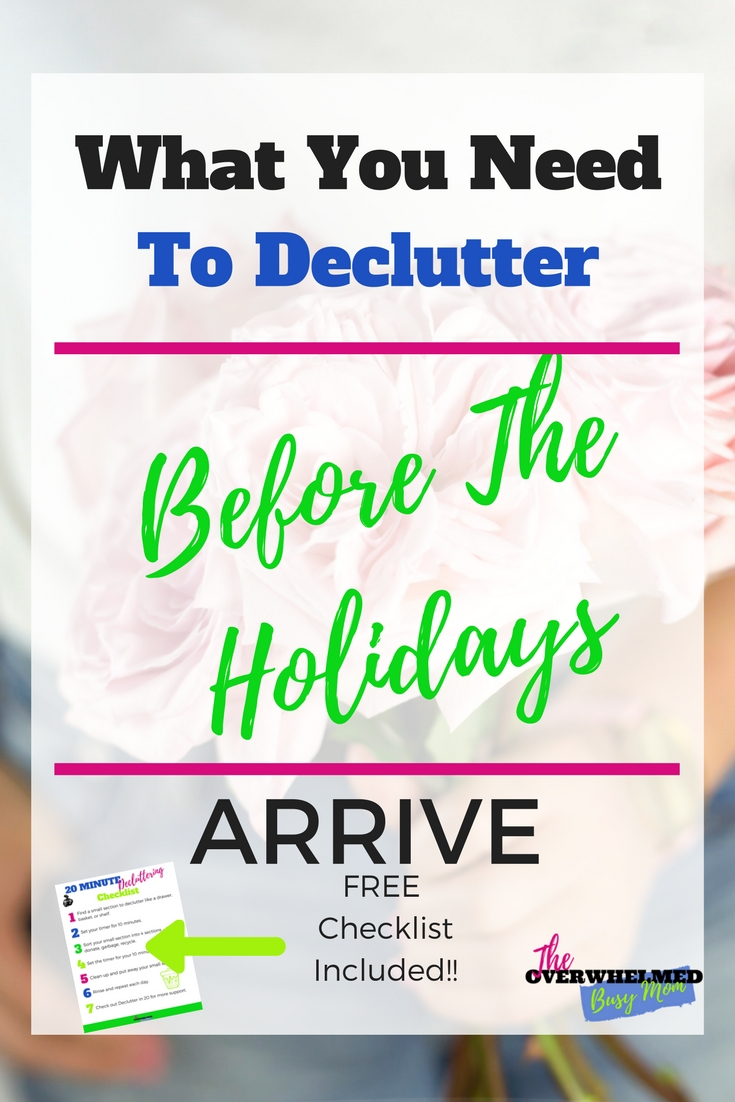In this post, Jenn shares 5 areas of the house that are probably the most important areas to declutter before the holidays arrive.  She also shares how to create a game plan so you have time to do some decluttering.  Included is a free decluttering checklist to use.
