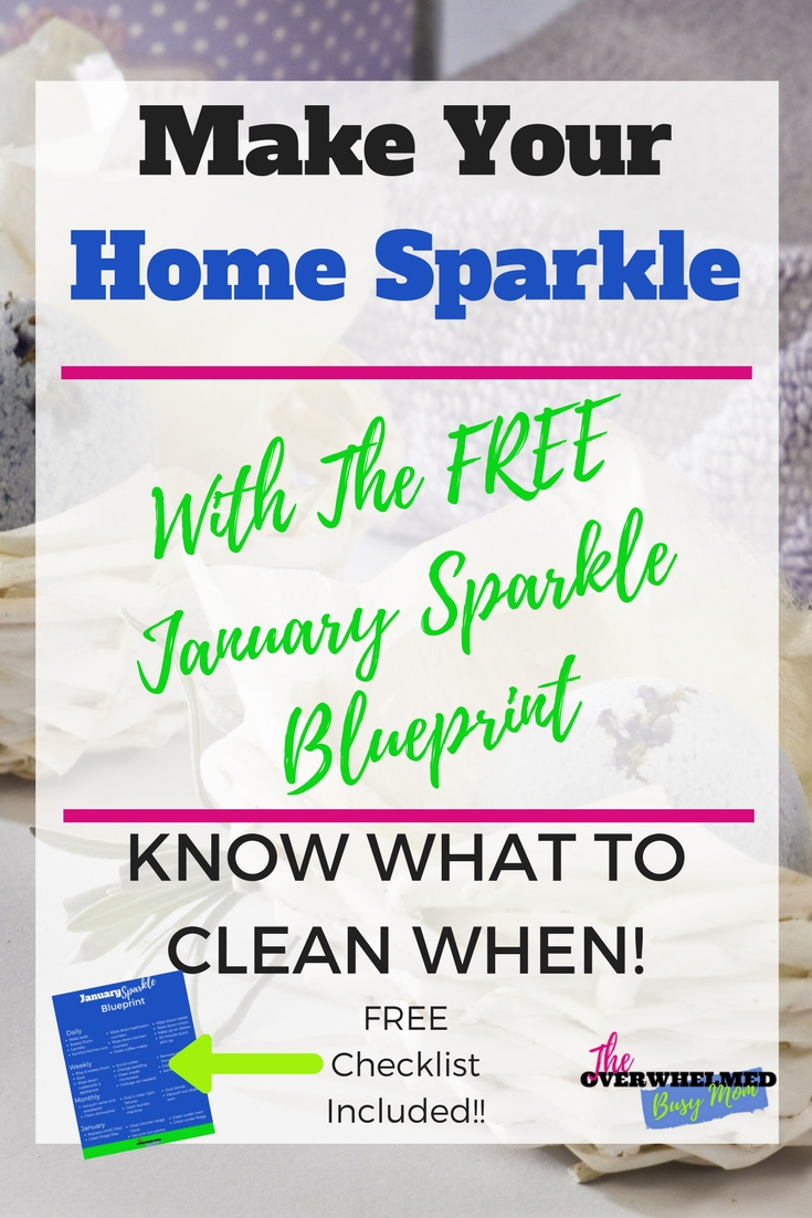 Stop feeling so overwhelmed with cleaning. Know what needs to be cleaned when with this FREE cleaning checklist for January.