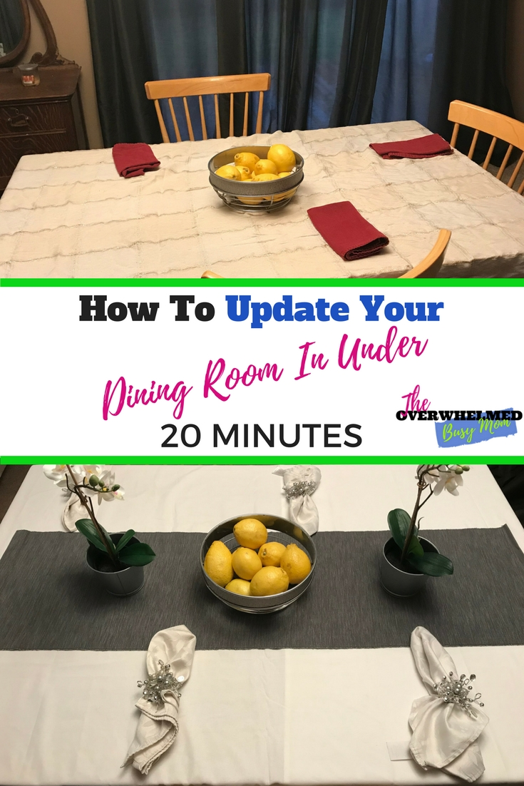 Here's a quick and simple way to make your dining room table look amazing.  In this post, Jenn shares how she was able to update her kitchen table in under 20 minutes after her Ikea trip. #shoppingtrip #organizing #organizedhome #ikea #diningroomtable #cleanhome