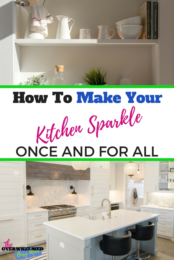 Knowing what needs to be cleaned when seems like an impossible thing to master.  In this post, Jenn shares what needs to be cleaned when and how to make your kitchen sparkle without feeling overwhelmed.  Included is a free checklist. #cleaning #cleaningtips #cleaningchecklist #cleankitchenchecklist #cleankitchen #wheretostartcleaning #cleanroutine