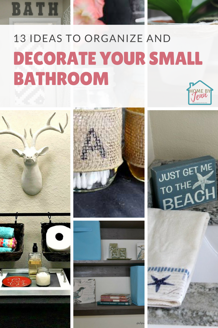 In this post, you'll find 13 simple ways to organize and decorate your small bathroom. #smallbathroom #smallbathroomorganization #smallbathroomdecor #smallbathroomdecorideas #smallbathroomorganizingideas