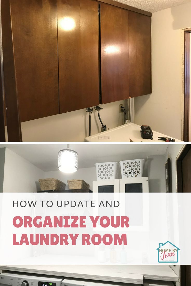 Take a small and out dated laundry room and transform it into a workable room.  In this post, Jenn shares how she added laundry room storage, created some laundry room wall decor, and added space to fold and hang laundry.  #laundryroom #smalllaundryroom #laundryroomorganization #laundryroomremodel #laundryroomupdate #laundryroomwalldecor #smalllaundryroomorganization #laundryroomideas