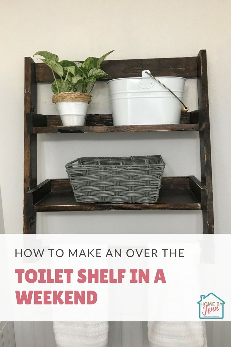Are you ready to build a toilet ladder shelf to solve your lack of storage in your small bathroom? In this post, I'm going to show you how I build this over the toilet shelf in a weekend with just a few tools and a couple of pieces of wood. Recently we updated our small bathroom. One of the biggest problems we face is storage. Since I removed our sink vanity and replaced it with a pedestal sink I needed something that would look awesome, not cost much, and was able to store the bathroom essentials. Creating furniture doesn't have to be scary. With a little direction and planning, you can DIY bathroom storage without spending much money. #DIY #bathroomorganization #smallbathroomorganization #bathroomstoragesolutions #smallbathroomstorage #overthetoiletshelf #laddershelf #overthetoiletstorage