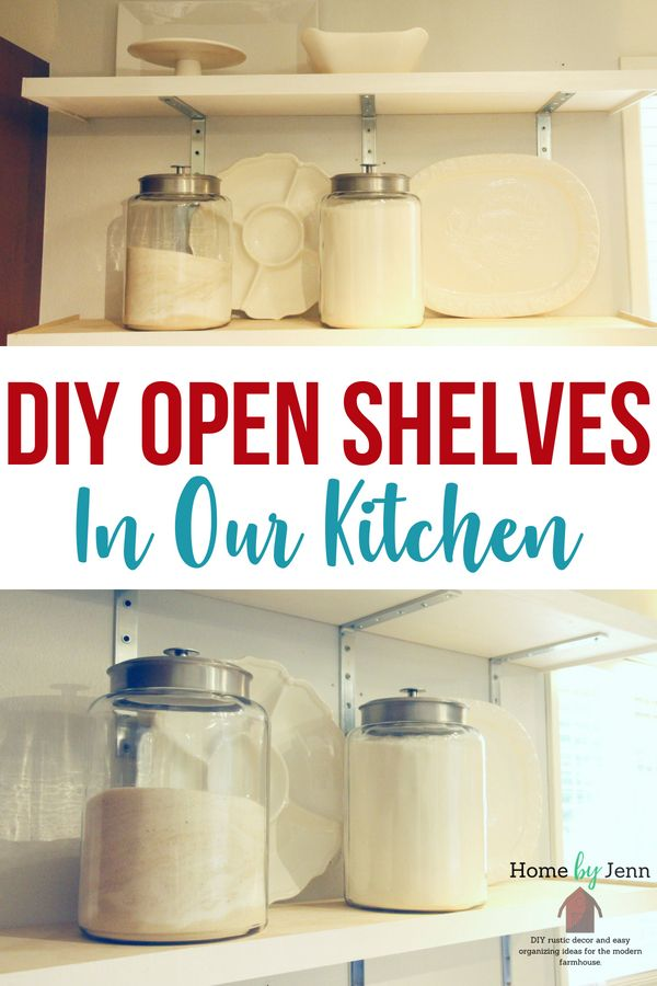 Add storage to your kitchen with these DIY open kitchen shelves. With a few supplies and a little bit of time you'll be able to organize your kitchen and pantry in no time. #DIY #pantryorganization #organize #kitchen #pantry #organizedkitchen #organizedpantry