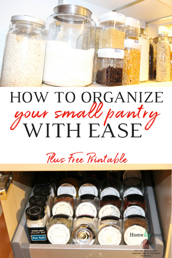 Small pantry area to keep organized.  With a pantry organization system in place you can created a small organized pantry with ease.  Jenn shares her small pantry organizing ideas with you in this post. #pantry #smallpantry #organizing #smallpantryorganiziation #kitchen #kitchenpantry