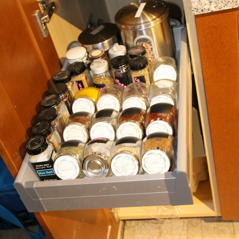 How to organize a pantry with deep shelves can be tricky but I used pull out drawer so I can keep our pantry organized and we can see all of the items in the back.