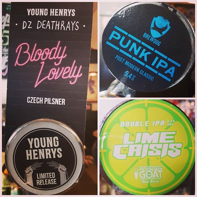 Come check out these freshly tapped brewties! @younghenrys collab with @dzdeathrays Bloody Lovely Czech Pilsner, @goatbeer very limited release Lime Crisis Double IPA from their rare breed range and all the way from Scotland @brewdogofficial present the ever rocking Punk IPA #craftbeer #allgood #inthehood