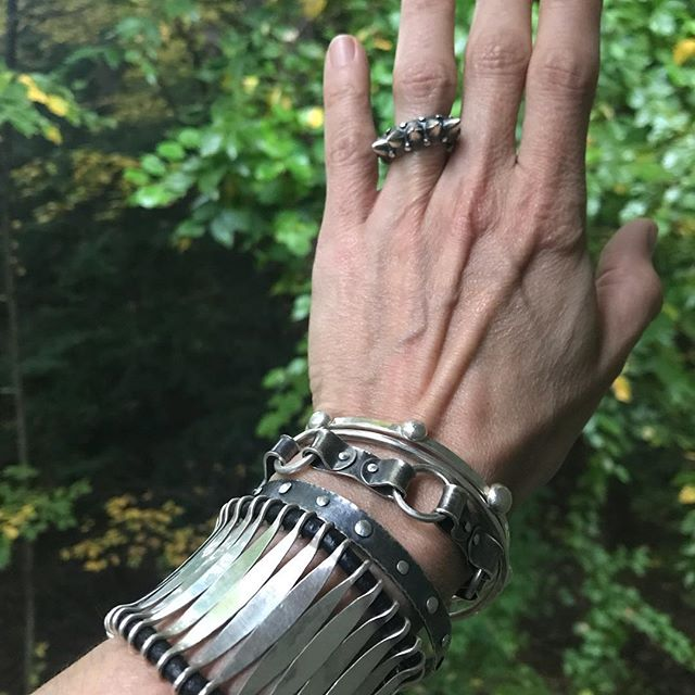 Rocking a collection of fierce bracelets by @donnavjewelry in Northampton, MA today. Come feel the power for yourself. Monday 10-4 Booth 127 @paradise_city_arts_festivals  #silverbracelet #handmade #contemporaryjewelry #jewelrycollection
