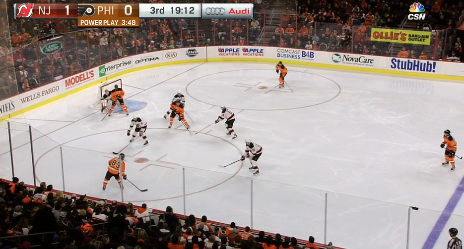 During a recent game, Sam Gagner was forced to take an ailing Claude Giroux's spot on the first unit. Luckily, with this kind of structure, even down a star a team can still get good looks.