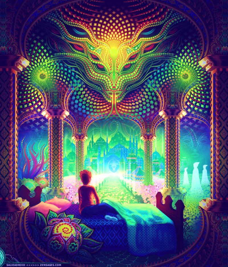 DMT-inspired artwork by SalviaDroid. Very mosque-like space, with mosques in the background.