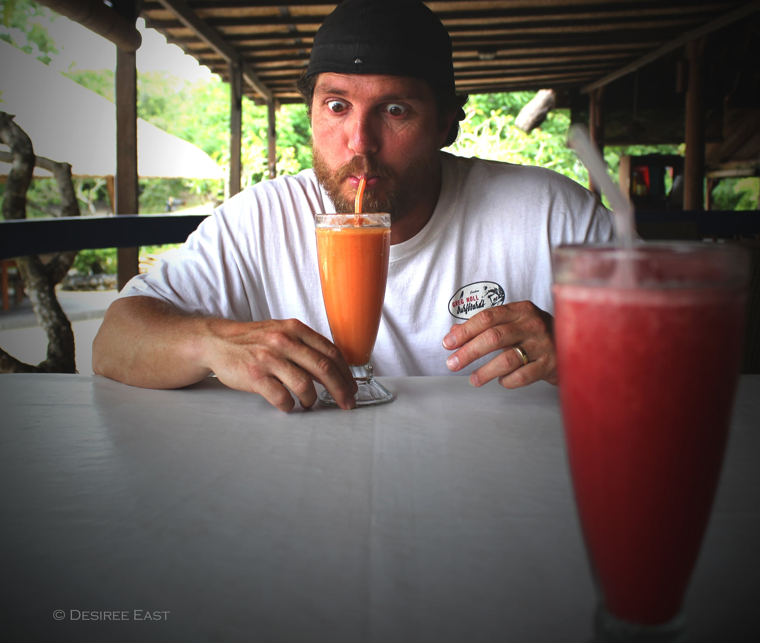 diggin the freshly blended fruit juices. bali, indonesia. photo by desiree east