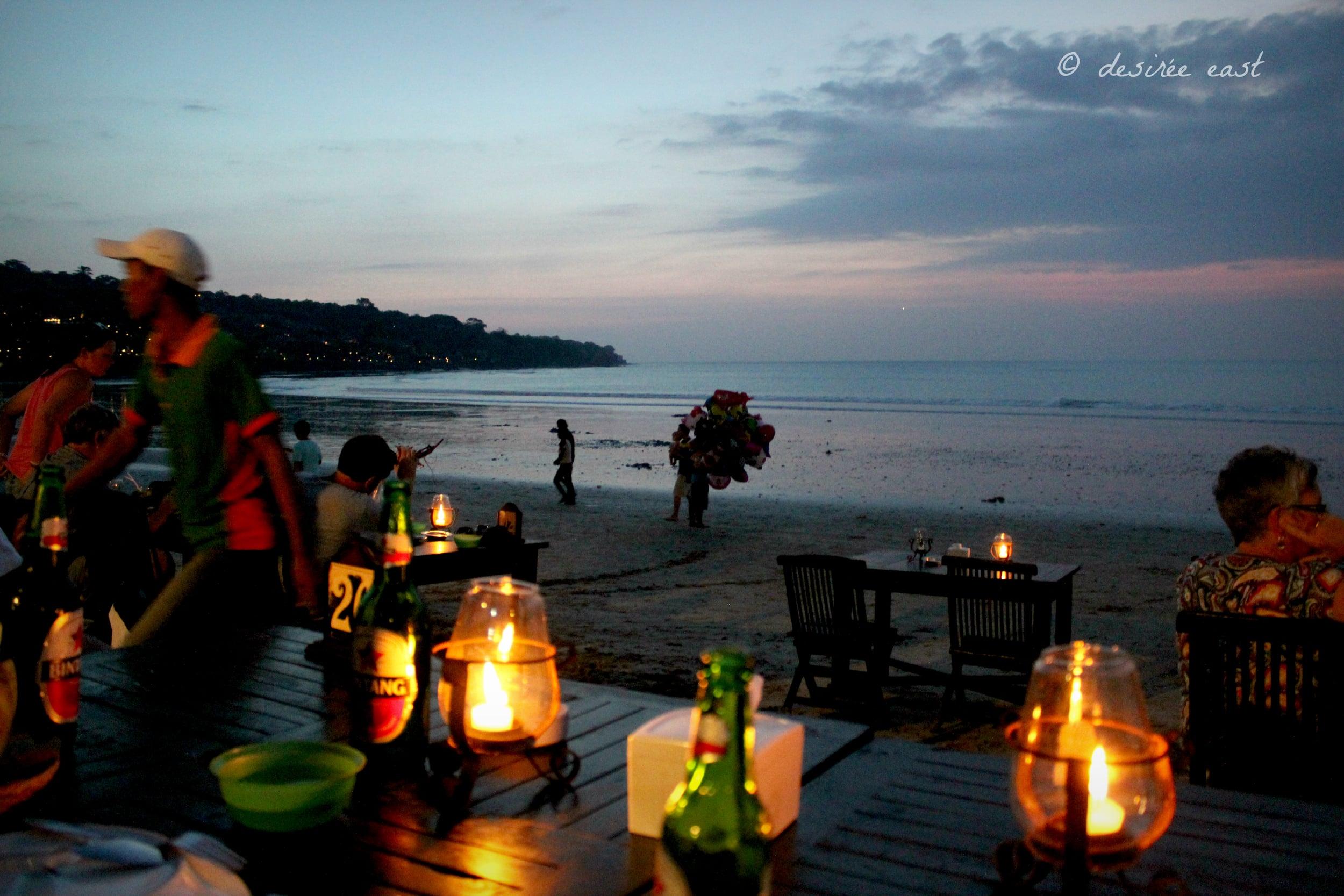 seafood dinner on the beach. jimbaran, bali. photo by desiree east