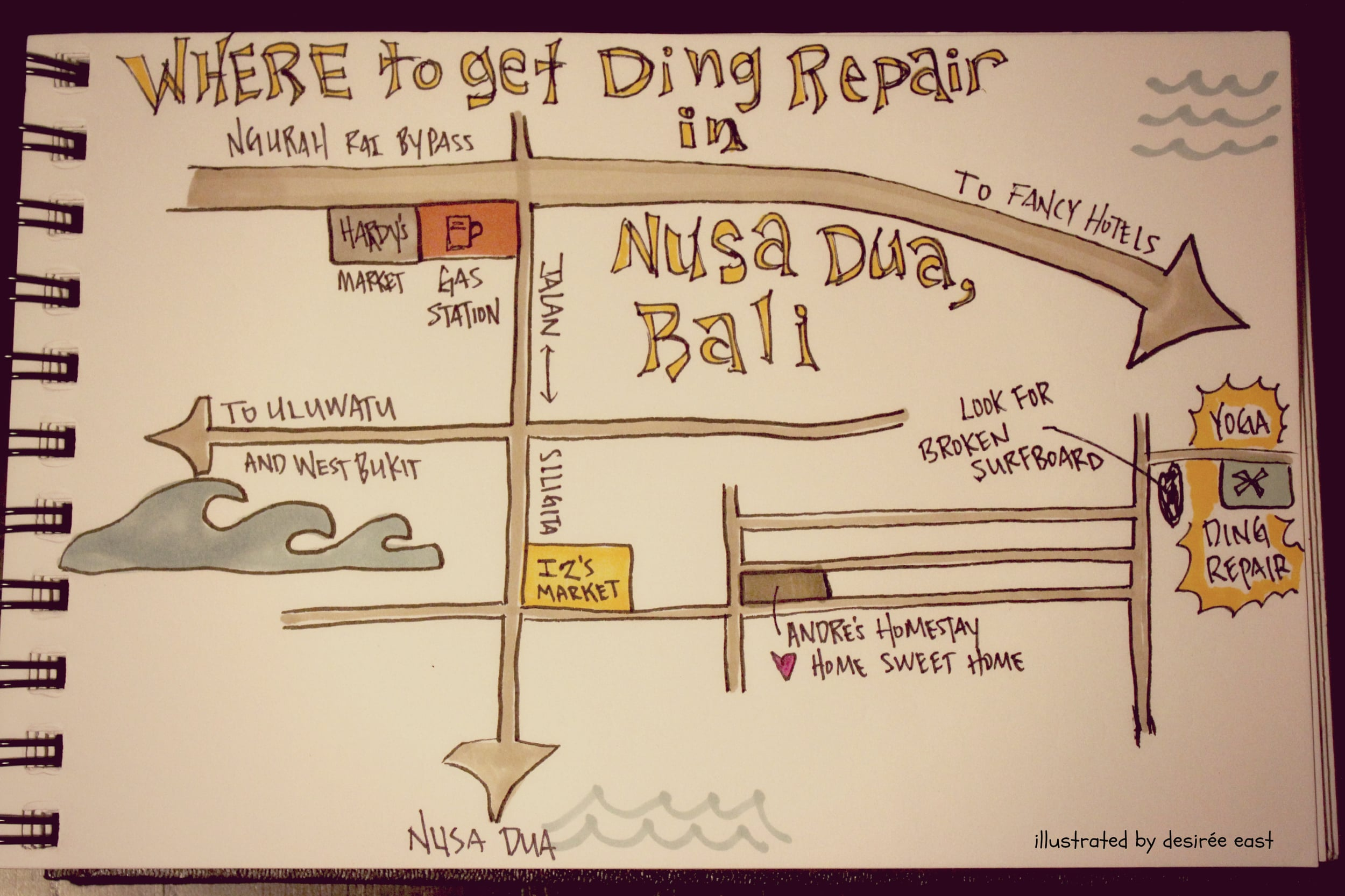map of how to find yoga's ding repair shop in nusa dua bali. illustrated by desiree east