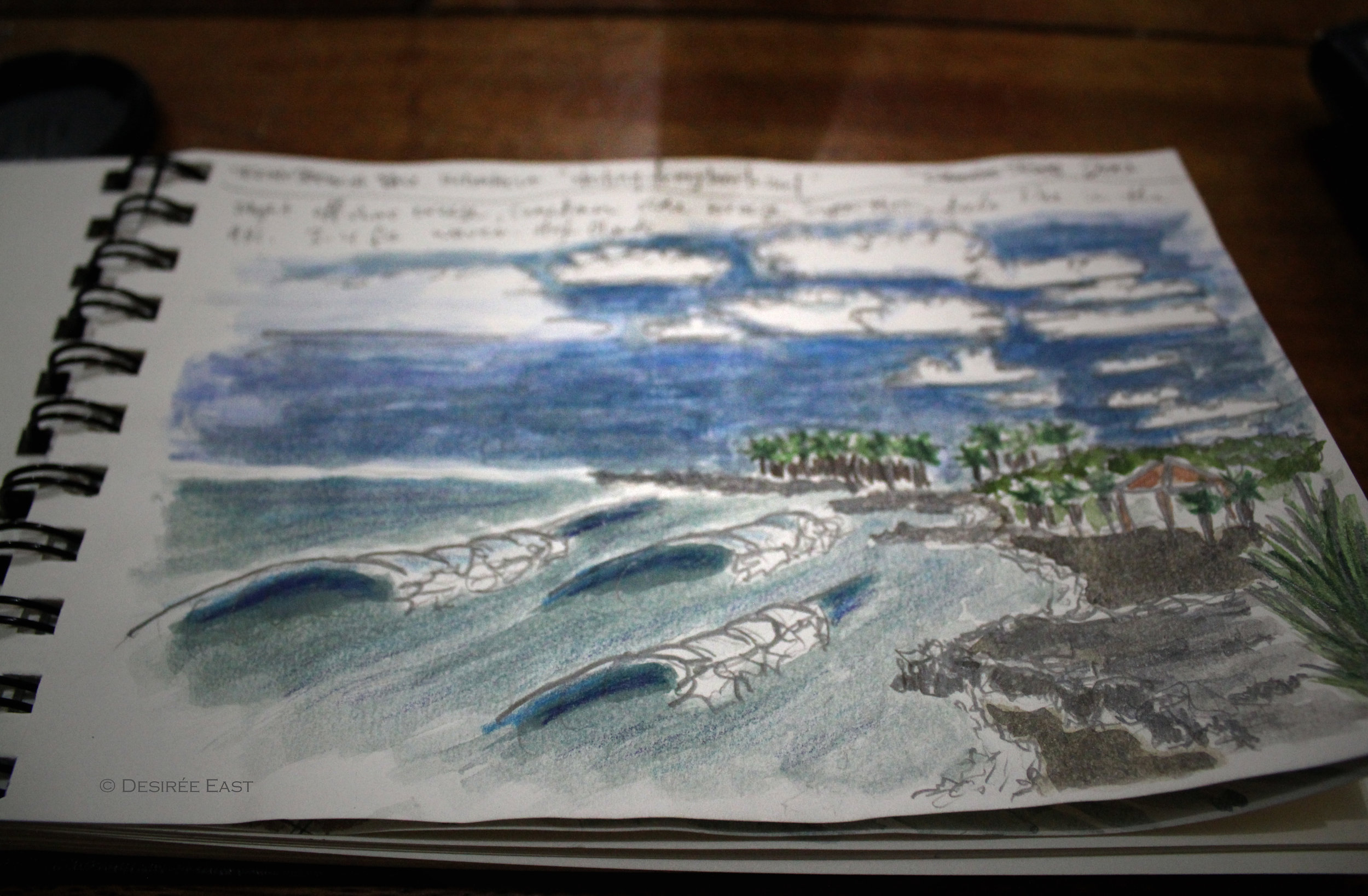 echo beach field sketch. canguu. bali, indonesia. travel journal by desiree east