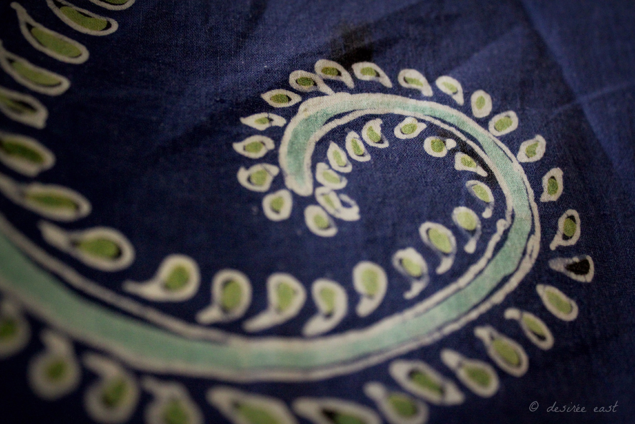 A close up of batik artwork I created in Bali. Notice the swirling, spiral pattern. Photo by Desiree East