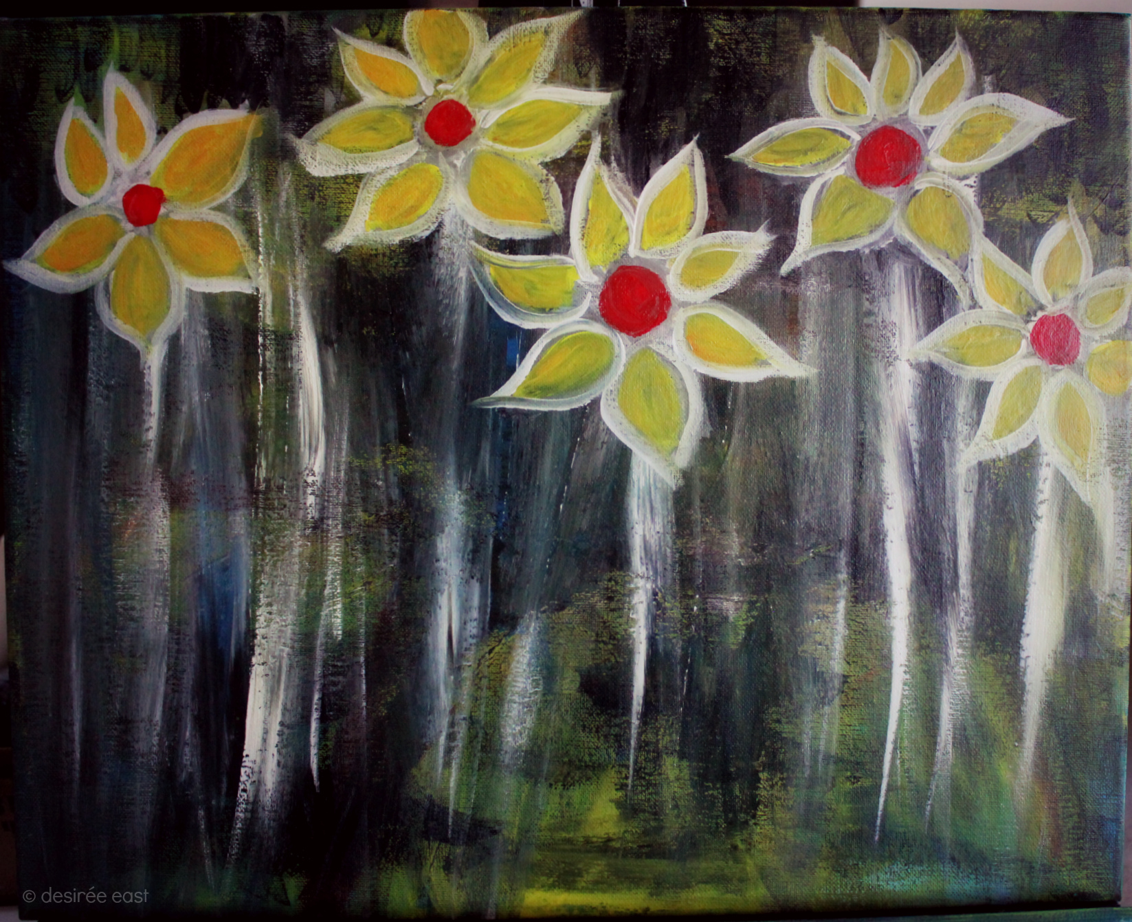 Creatively Fit Coaching. Painting Marathon Mile #17 - CONTRAST, sunflowers to brighten up a dark canvas by Desiree East