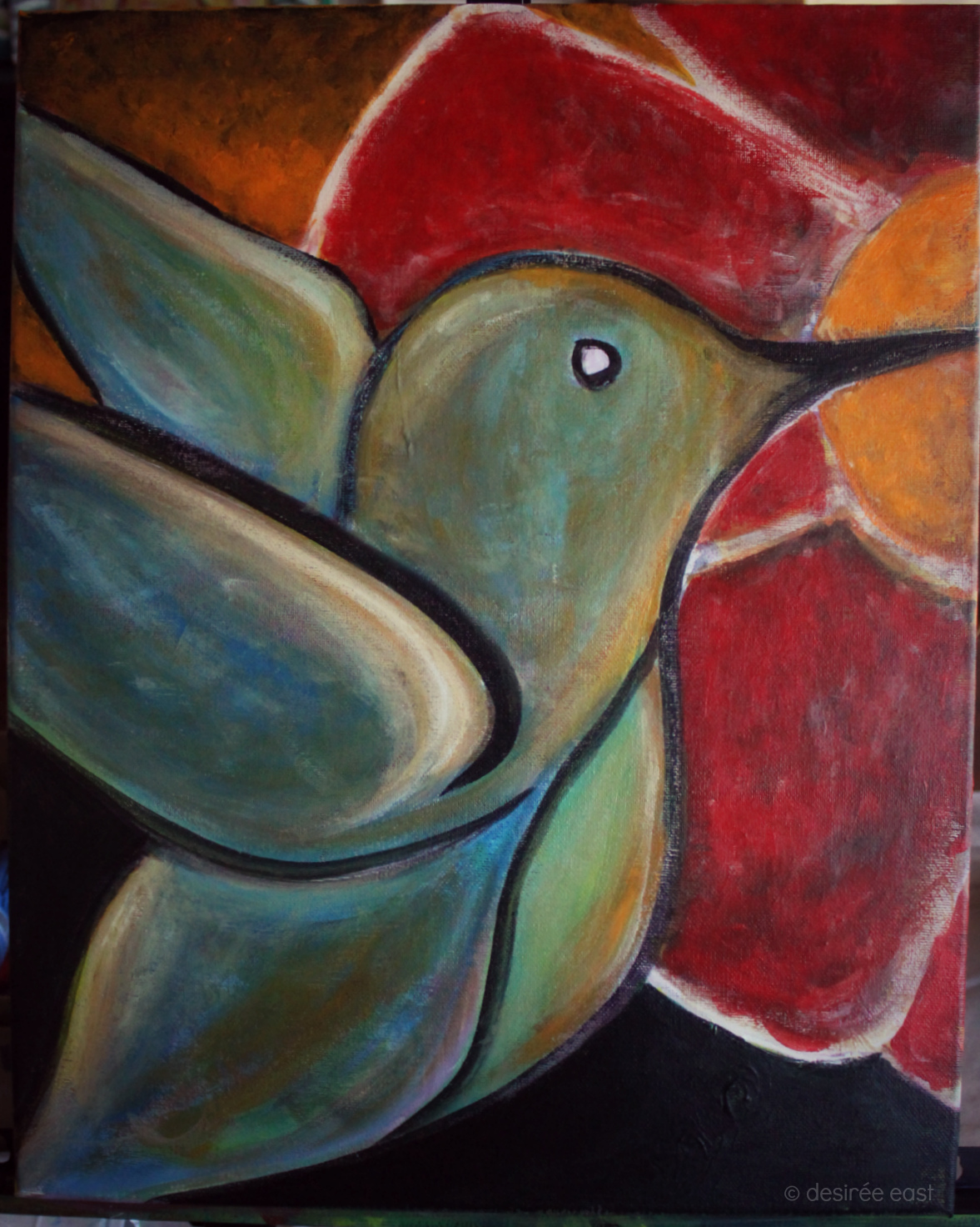 Creatively Fit Coaching. Painting Marathon Mile #3 - hummingbird by Desiree East