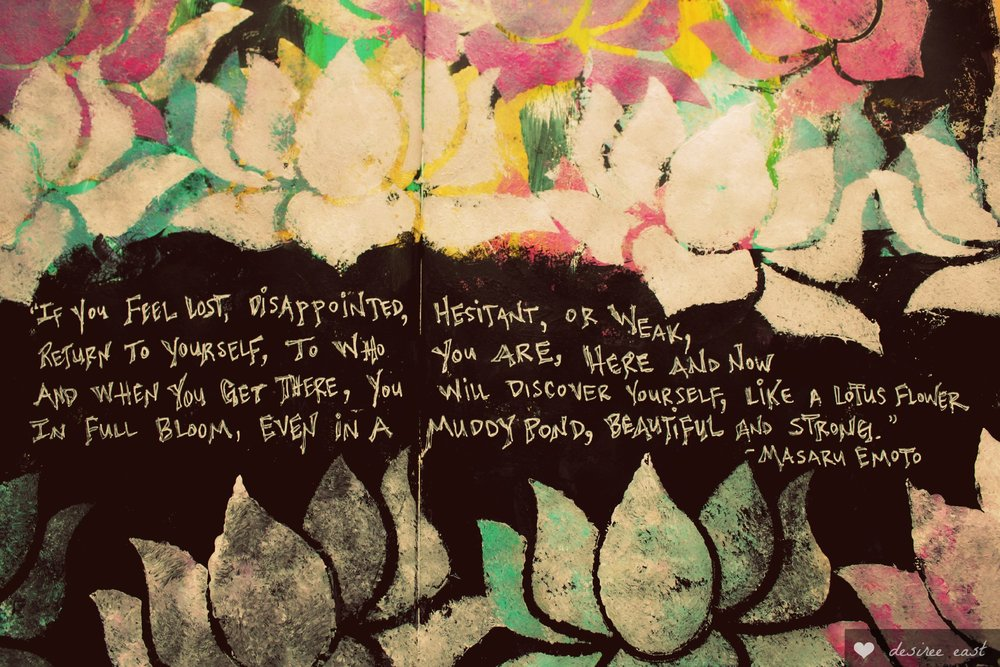 lotus quote - art journaling by desiree east