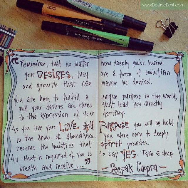 artist desiree east - deepak chopra quote