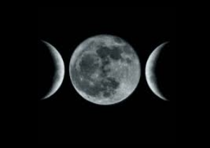 The symbol of the Triple Goddess, depicted in the image above as the waxing crescent, full, and waning crescent moons, represents the three major phases of life for a woman: maiden, mother, and matron.