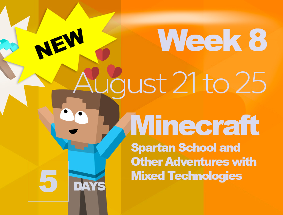 ** NEW WEEK! **WEEK 8: MINECRAFT & MIXED TECHAugust 21 - 25 (5 DAYS) | $325 + HST - Kids will explore recreational maps and mini-games while learning to use drag and drop coding software to create their own Minecraft mods before play-testing them on a server. Our days will also include other arts and science activities such as game maker, coding, and outdoor time. It's a week for all things Minecraft!