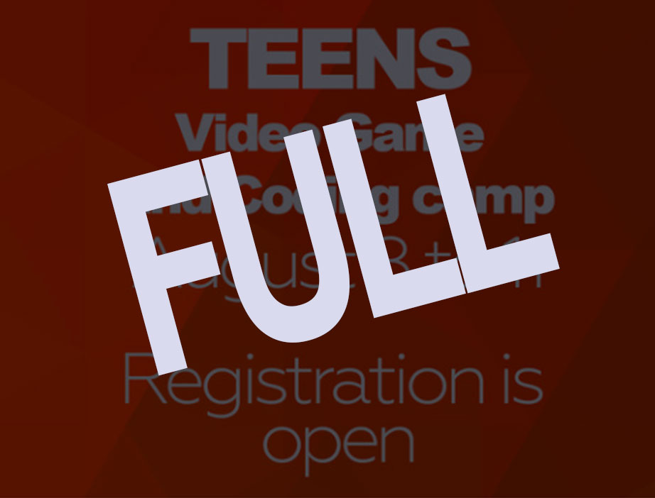 Video Game and Coding CamP for TeensTHIS WEEK IS NOW FULL / AUGUST 8-11 - Teens will create a 2D video game using Game Maker. They will also cover an introduction to Unity's 3D video game development software, learn to code with HTML and CSS, and get an introduction to Adobe Photoshop!