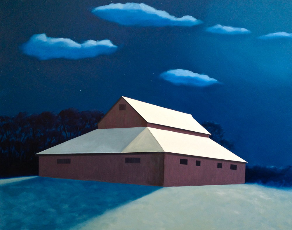 """Moonlit Barn"" 48 x 60 Oil on Canvas $9,750"