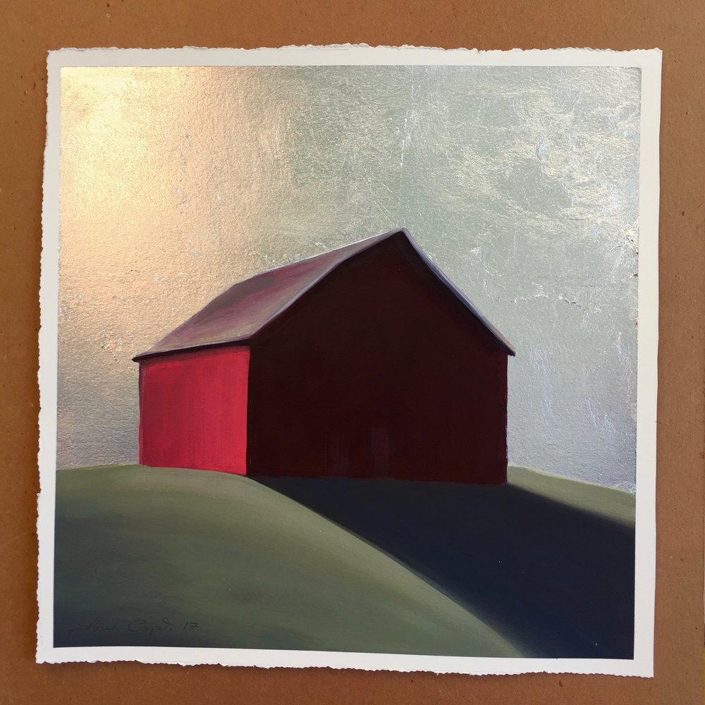 """Silver Night Barn"" Oil and silver leaf on 300lb watercolor paper.  14x14, $1,400."