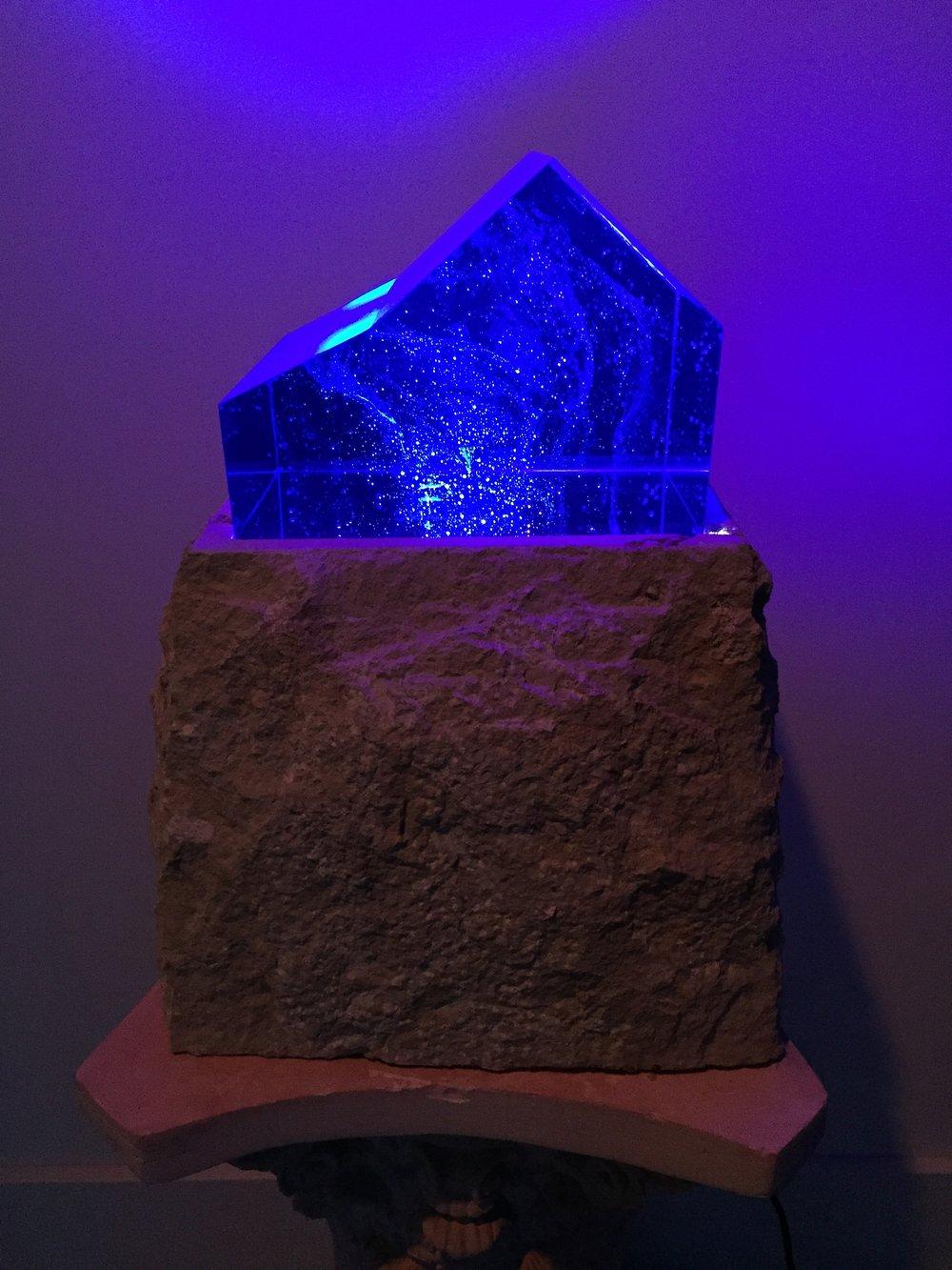 """Blue Barn Galaxy"" Kiln Cast Glass on Lighted Limestone Base.  $5,500.00"