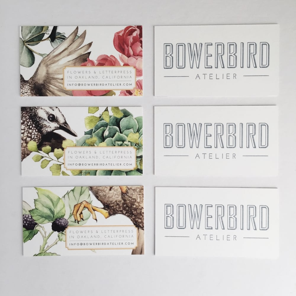 Business Card Design by Stephanie Laursen for Bowerbird Atelier | Watercolor illustrations by Lizzie Poock