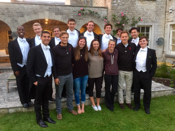 Dins posing with members of the Canadian Olympic sailing team, shortly after the dinner gig