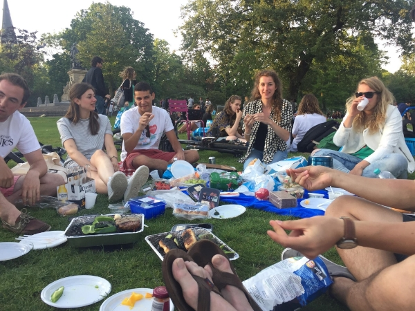 An excellent dinner picnic in Amsterdam's Vondelpark with some hosts and their friends