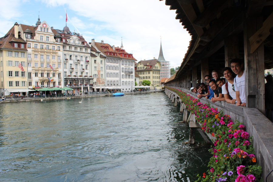 The Dins on a bridge in Lucerne