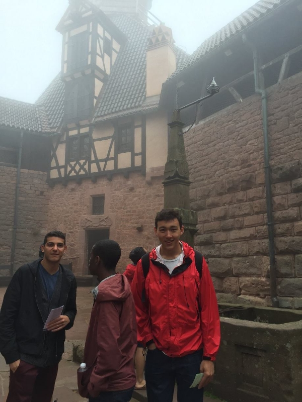 Jacques, Sydney, and Danny at the very foggy Château du Haut-Kœnigsbourg