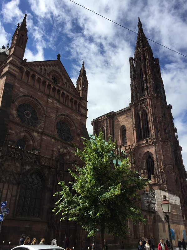 The majestic cathedral of Strasbourg dominates the city