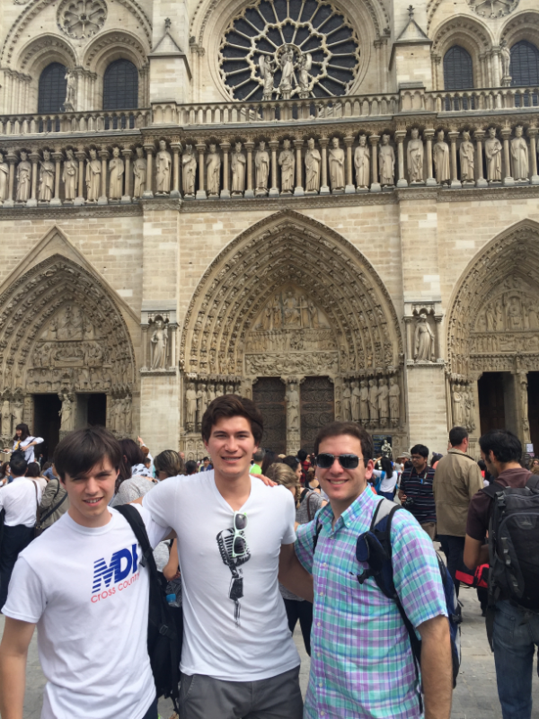In front of the Notre-Dame de Paris cathedral