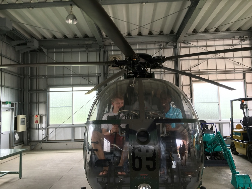 Testing out an old military helicopter at the Chiba Institute of Science's marina campus