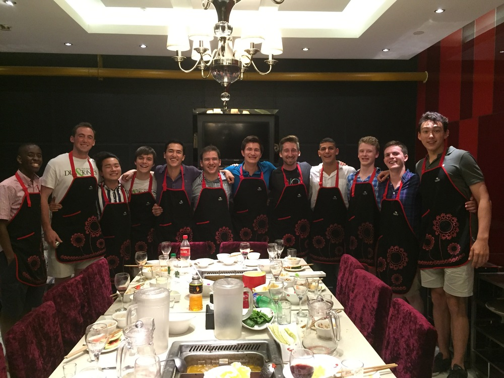 Eating at a wonderful Sichuan-style hot pot restaurant with Dillon in Beijing