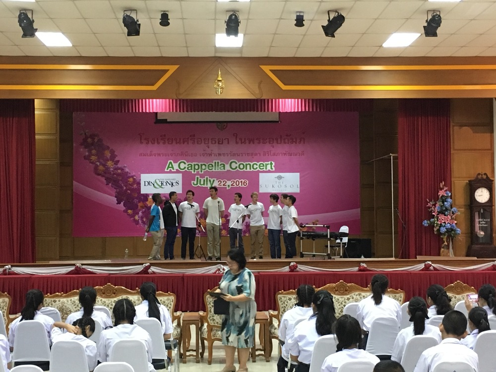 On-stage in casual gear at the Sri Ayutthaya school