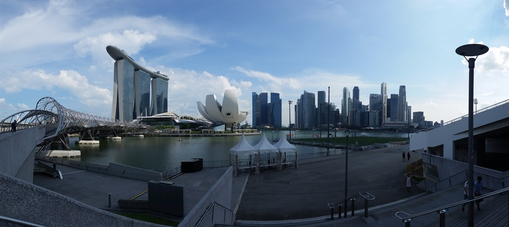 A panorama of Marina Bay and the main commercial district of Singapore