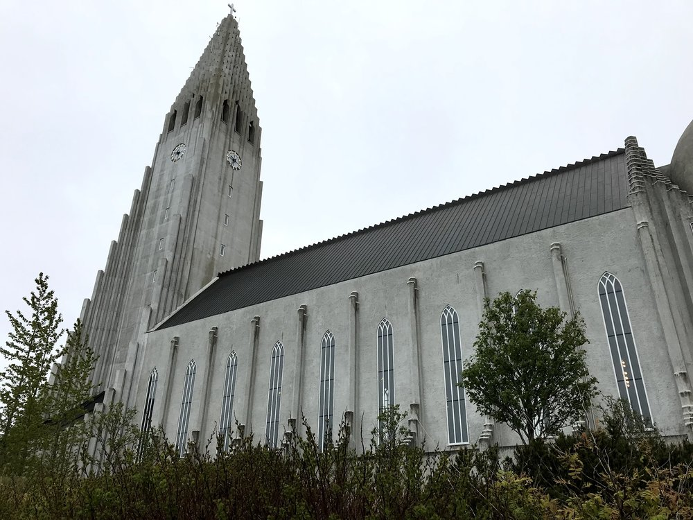 A photo of Hallgrímskirkja, the large Lutheran church that dominates the Reykjavik skyline.   Photo by Kevin Kearns '20