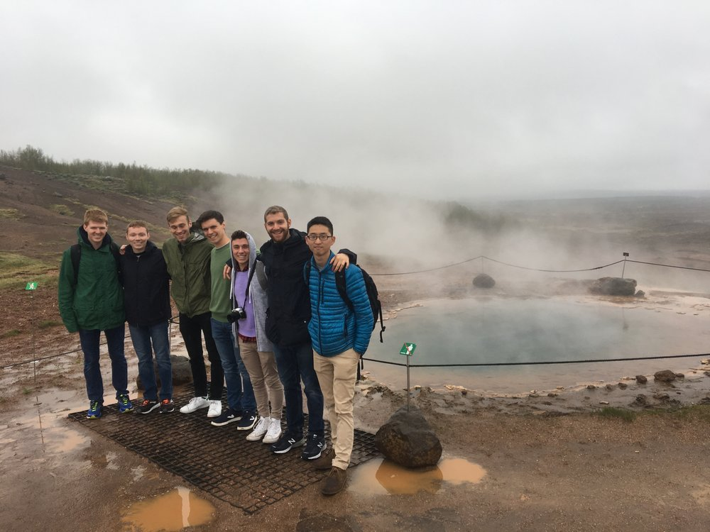 "A gaggle of Dins visiting Geysir and the hot springs on our ""Golden Circle"" tour in Iceland."