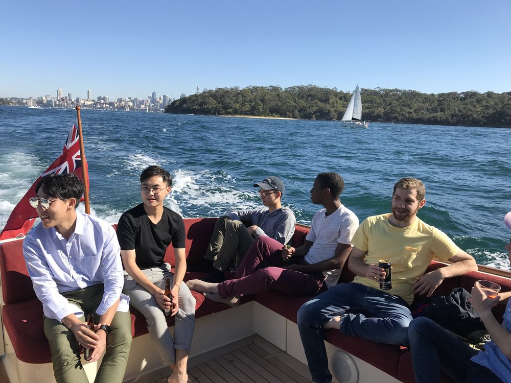 Jubilant Dins boating on the Sydney Harbor!  Photo by Kevin Kearns #244