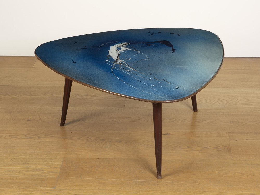Acquisition of Piano di Tavolino, Mixed media on glass and walnut decorative table for a private client in Denmark
