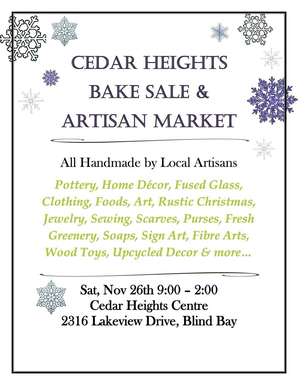 Cedar Heights Bake Sale & Artisan Market